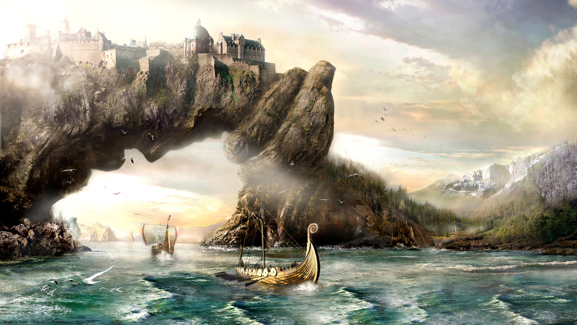 vikings sailing boats ships landscapes paintings mountains wallpaper 1920x1080