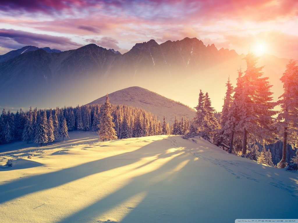 Sunset Winter Shadows 4K HD Desktop Wallpaper for 4K Ultra HD 1024x768