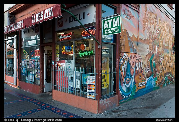 Corner store and mural Mission District San Francisco California 576x393