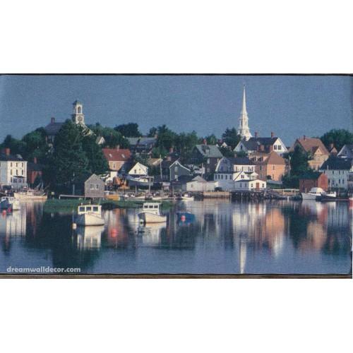 Blue Lake Countryside House Wallpaper Border 500x500