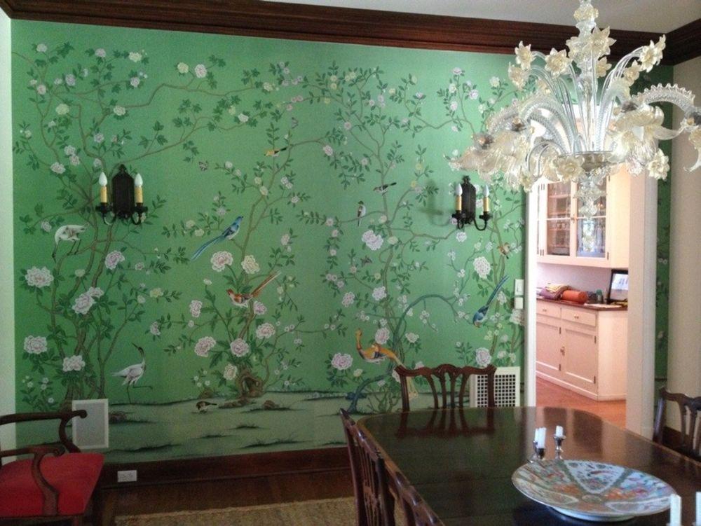 Chinoiserie Handpainted Silk Wallpaper Grand View Garden eBay 269x887