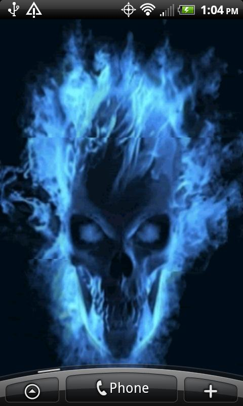 Wallpapers for Android Android Live Wallpapers Blue Skull Flames 480x800