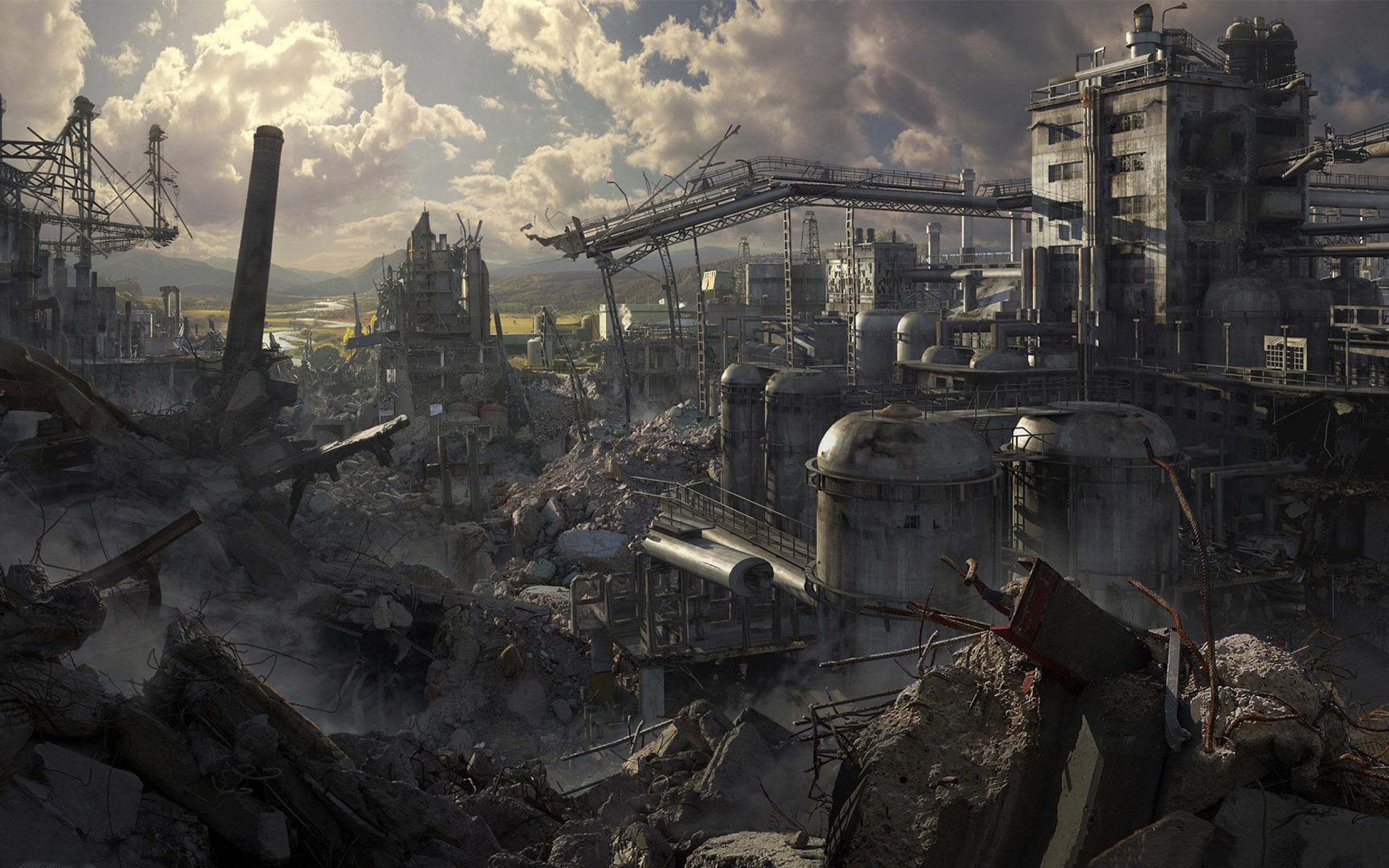 Home FantasyHD Wallpapers Destroyed City Wallpaper 2560x1600