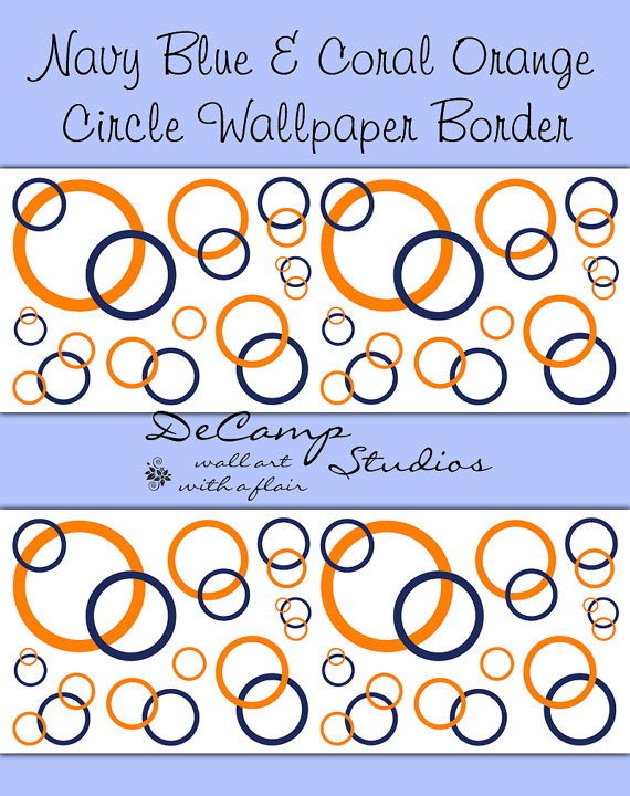 Items similar to NAVY BLUE CORAL Orange Circle Wallpaper Border Wall 570x720