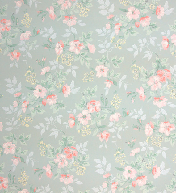 1940s vintage wallpaper little pink flowers by HannahsTreasures 570x625