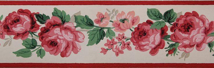 Rosies Vintage Wallpaper   Trimz Vintage Wallpaper Border China Rose 736x234