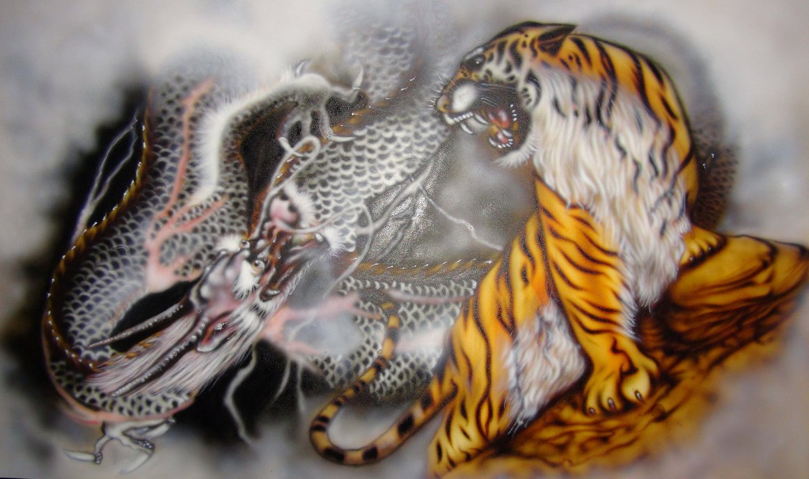 Dragon and Tiger   Airbrush by KisaMake 1162x688