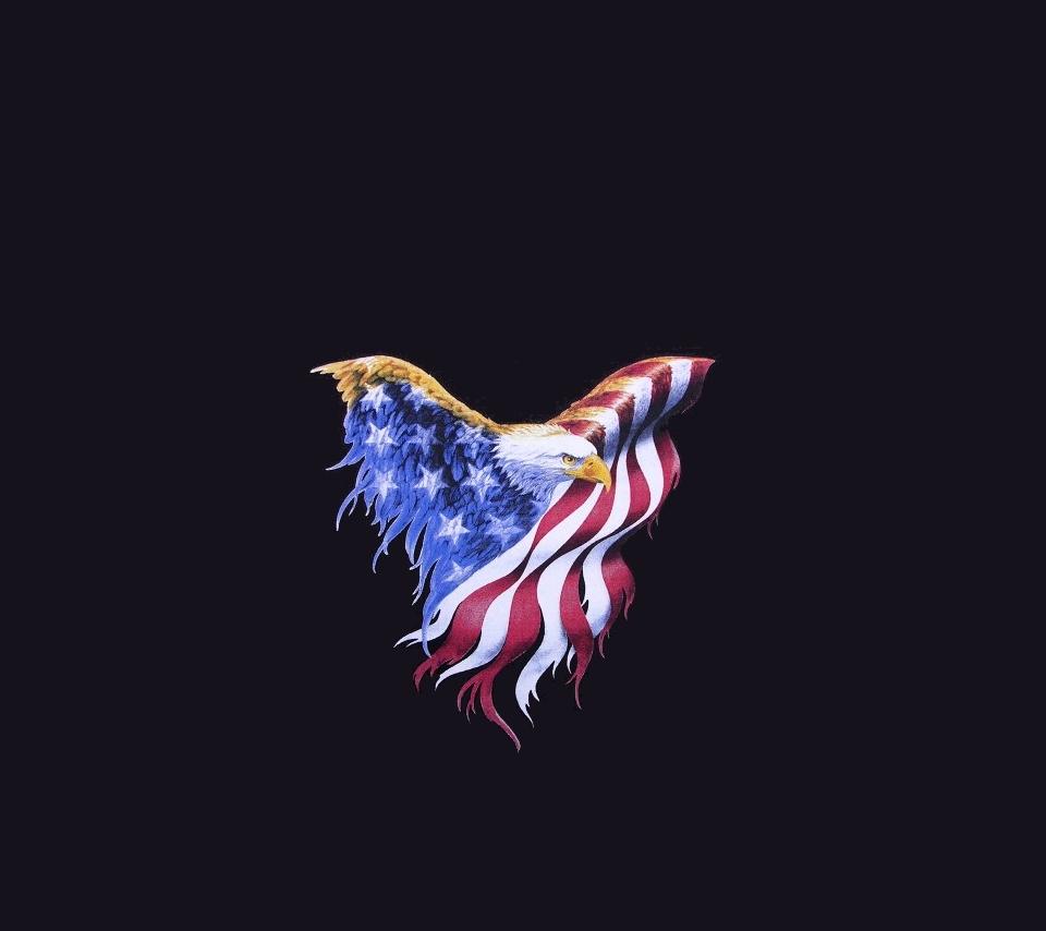 Patriotic Eagle with USA flag 960x854