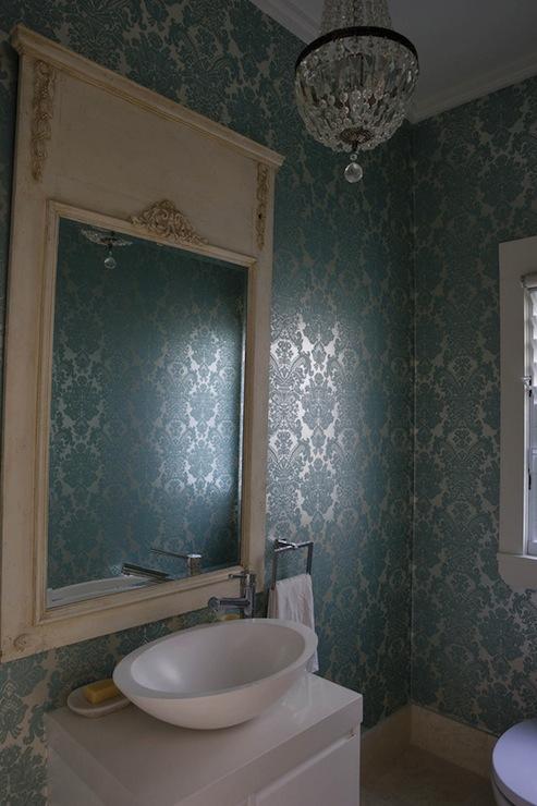 Turquoise Damask Wallpaper   French   bathroom   Denai Kulcsar 493x740