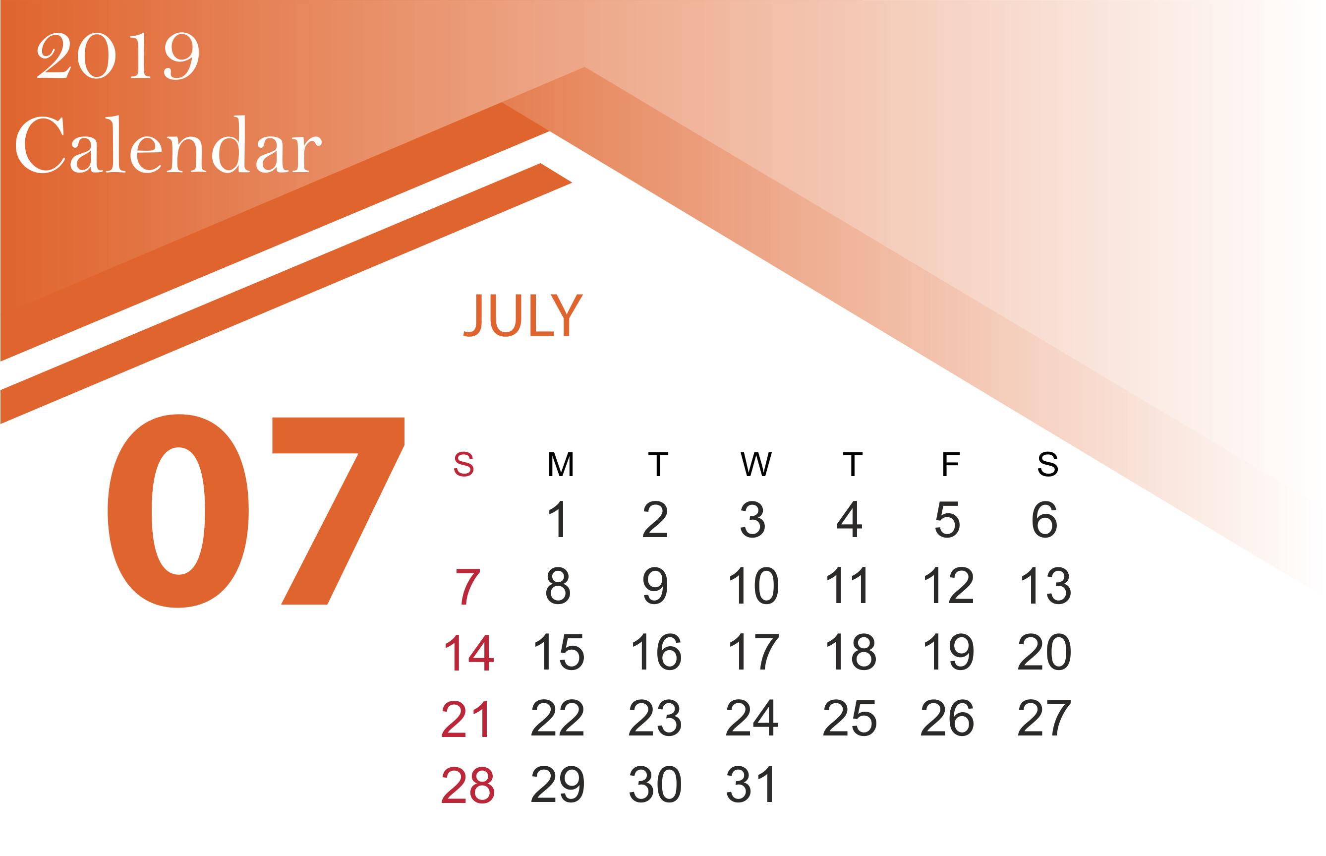 July 2019 Calendar Printable Template With Holidays 2675x1726