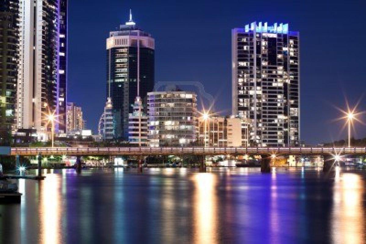 Modern Australian City At Night Gold Coast Queensland Australia Image 1200x801