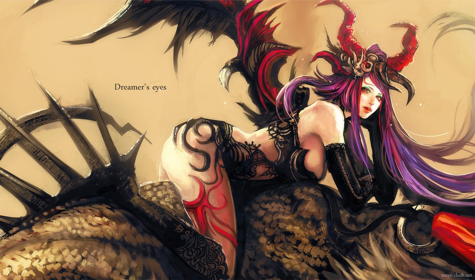 Sexy Demon Girl Wings Horn Anime HD Wallpaper Desktop PC Background 1600x943