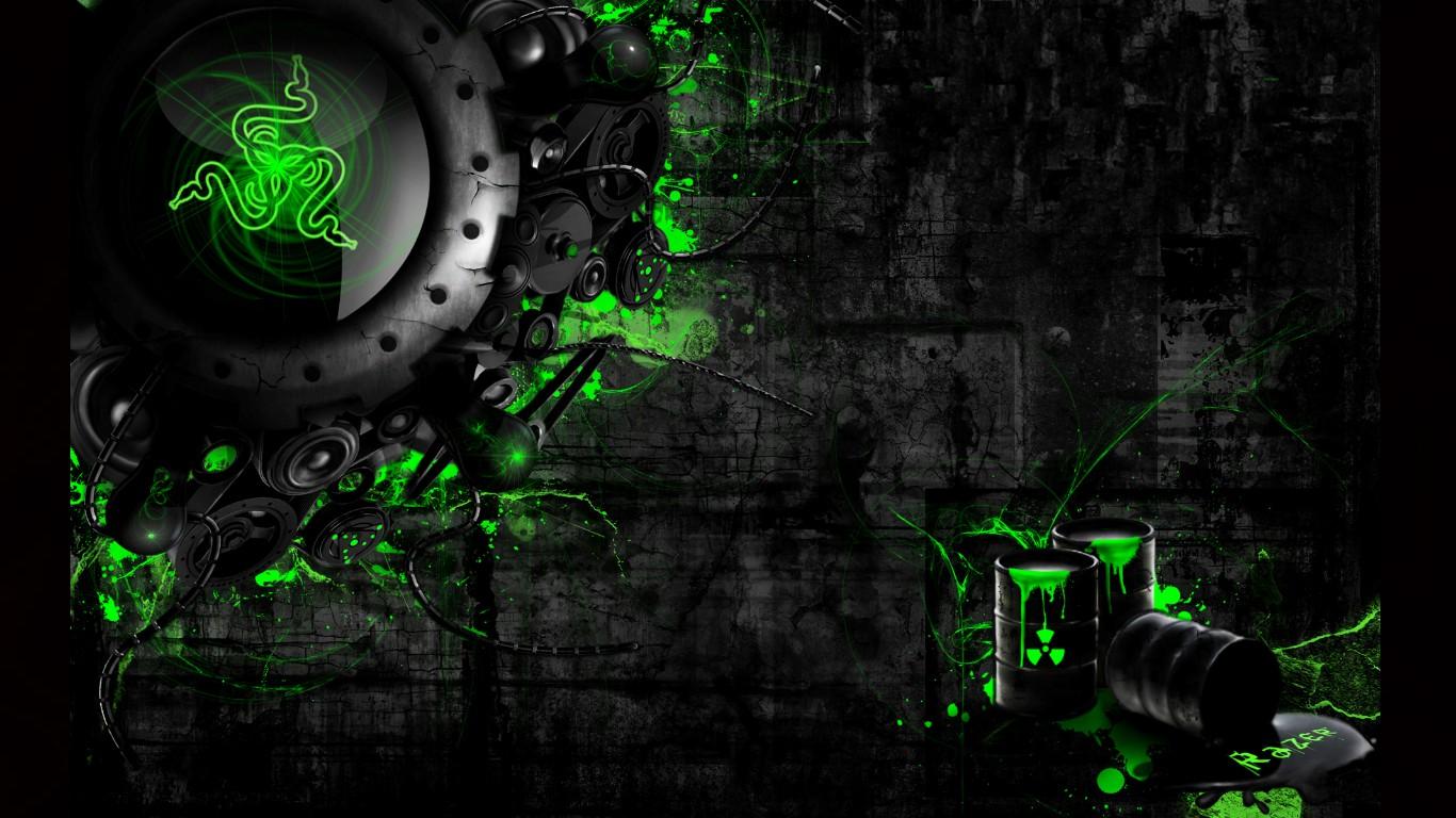 Razer Neon Green HD Wallpapers Backgrounds 1366x768