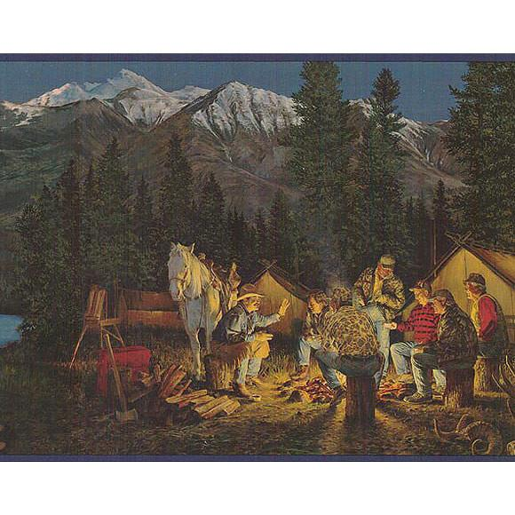 Cowboy Campfire Mountain Scene Western Wallpaper Borders ADV2001B 580x580