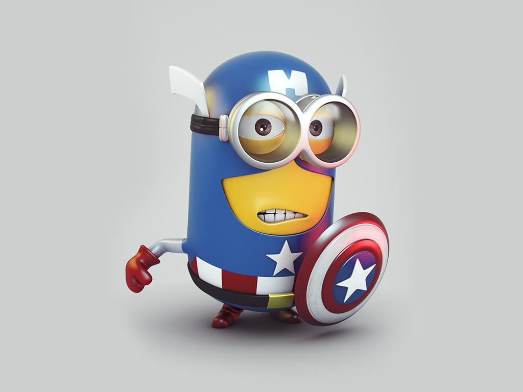 Captain America Despicable me Minion htc First wallpaper 1024x768
