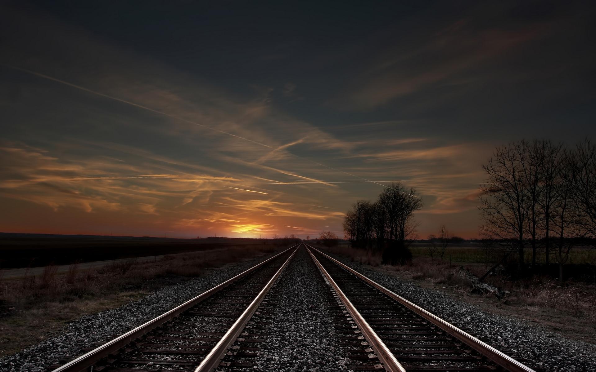 track field sunset evening trees railroad wallpaper background 1920x1200