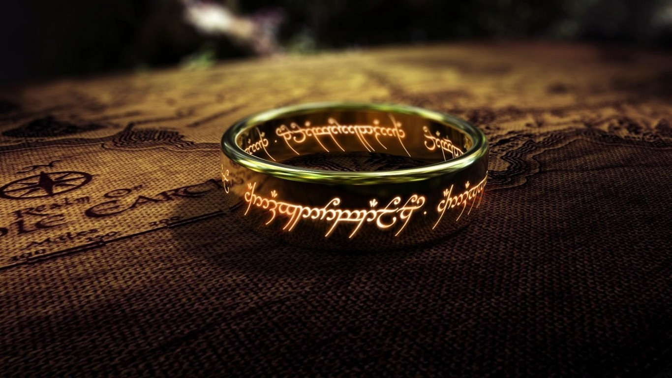 JRR Tolkien The Lord of the Rings The One Ring digital art engraving 1366x768