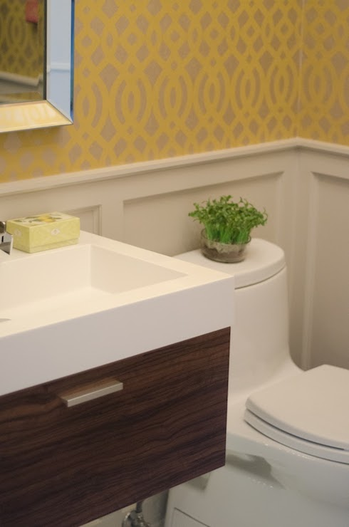 Yellow Trellis Wallpaper   Contemporary   bathroom   Benjamin Moore 490x740