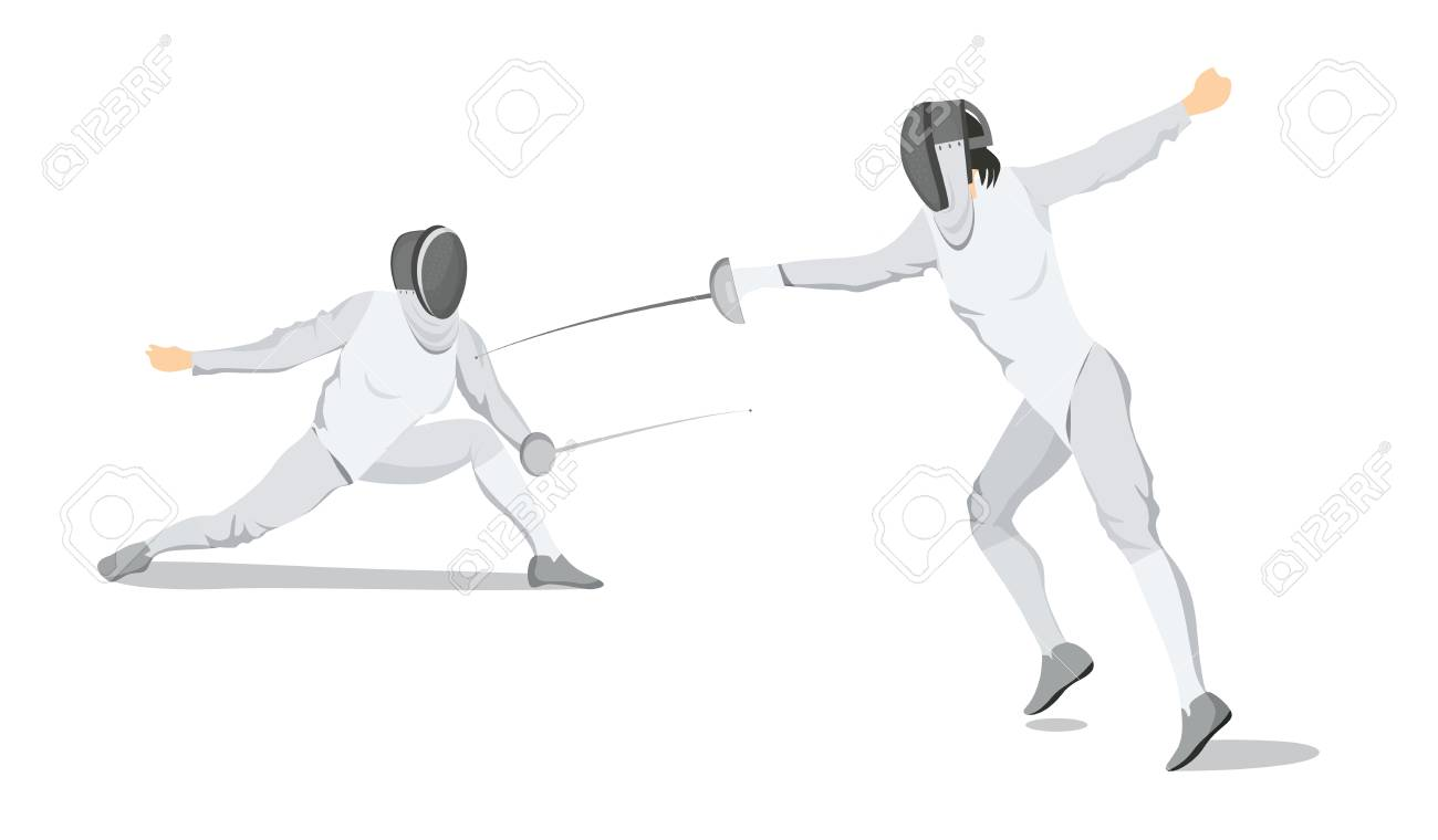 Fencing Moves Illustration On White Background Athletes In White 1300x760