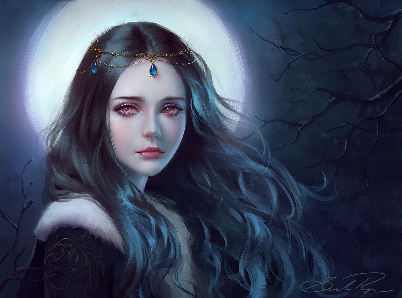 Free download tree girl fantasy face red eyes princess long hair