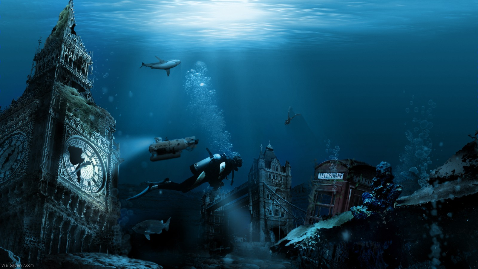 Undersea City 1600x900 pixels Wallpapers tagged Ocean sea 1600x900