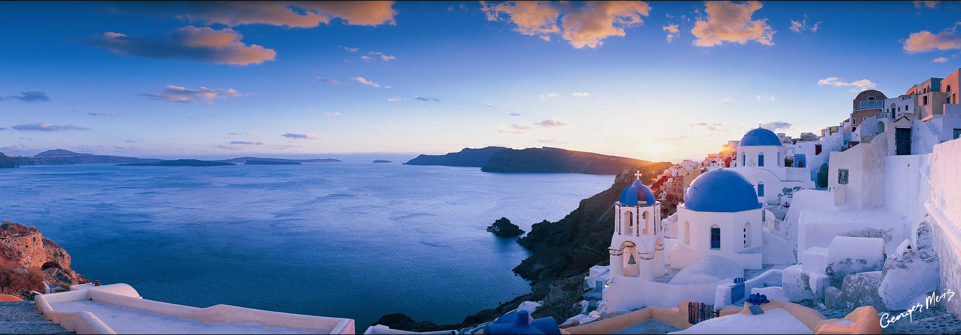 Santorini Greece View Panorama Sea Ships Desktop Background 3232x1129