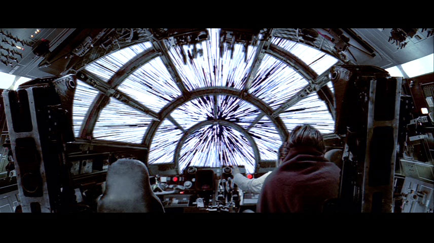 -shifted starlines visible from the cockpit of the Millennium Falcon ...