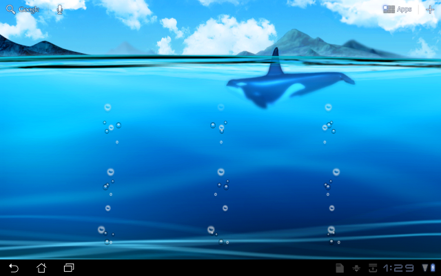 Live Wallpaper] Asus MyWater2 orca 640x400