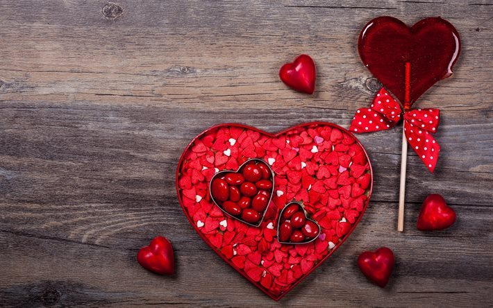 Download wallpapers Valentines Day box heart red heart 710x444