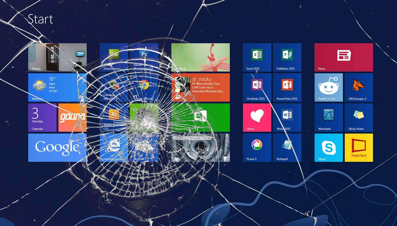 Show Your Support of Windows 8 With This Cracked Screen Wallpaper 1684x960
