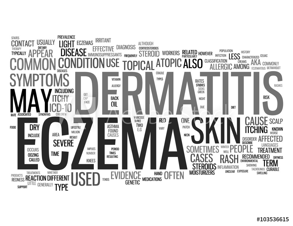 Photo Art Print Eczema related words isolated on white 1000x773