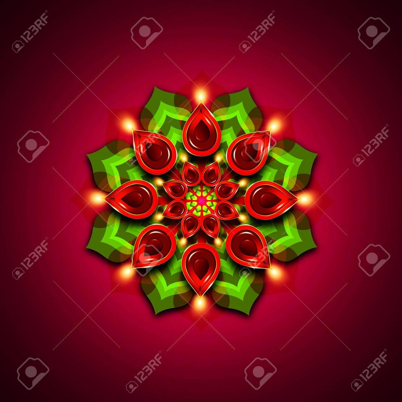 Rangoli With Diwali Diya Elements Over Dark Rouge Background Stock 1300x1300