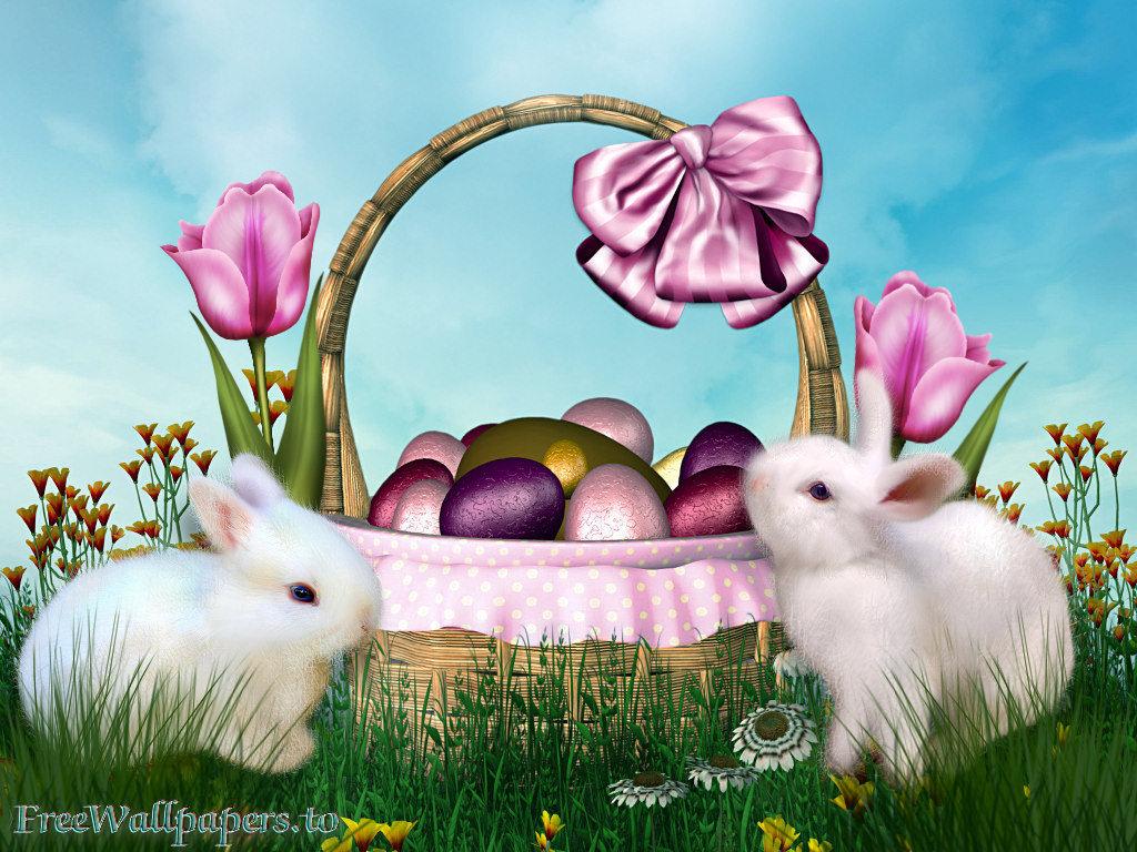 Easter scenes wallpaper wallpapersafari - Easter bunny wallpaper ...