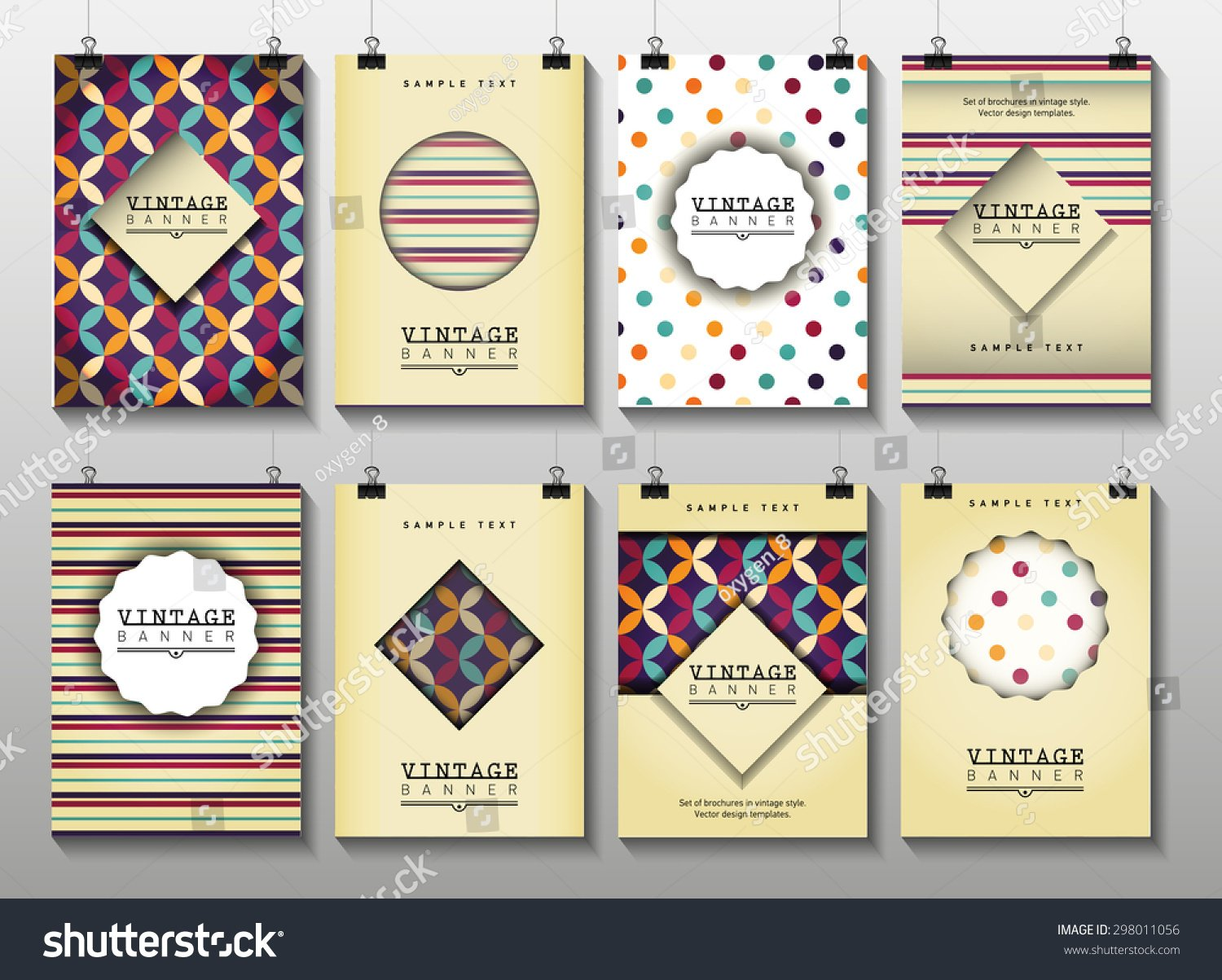 Set Brochures Vintage Style Vector Design Stock Vector Royalty 1500x1203