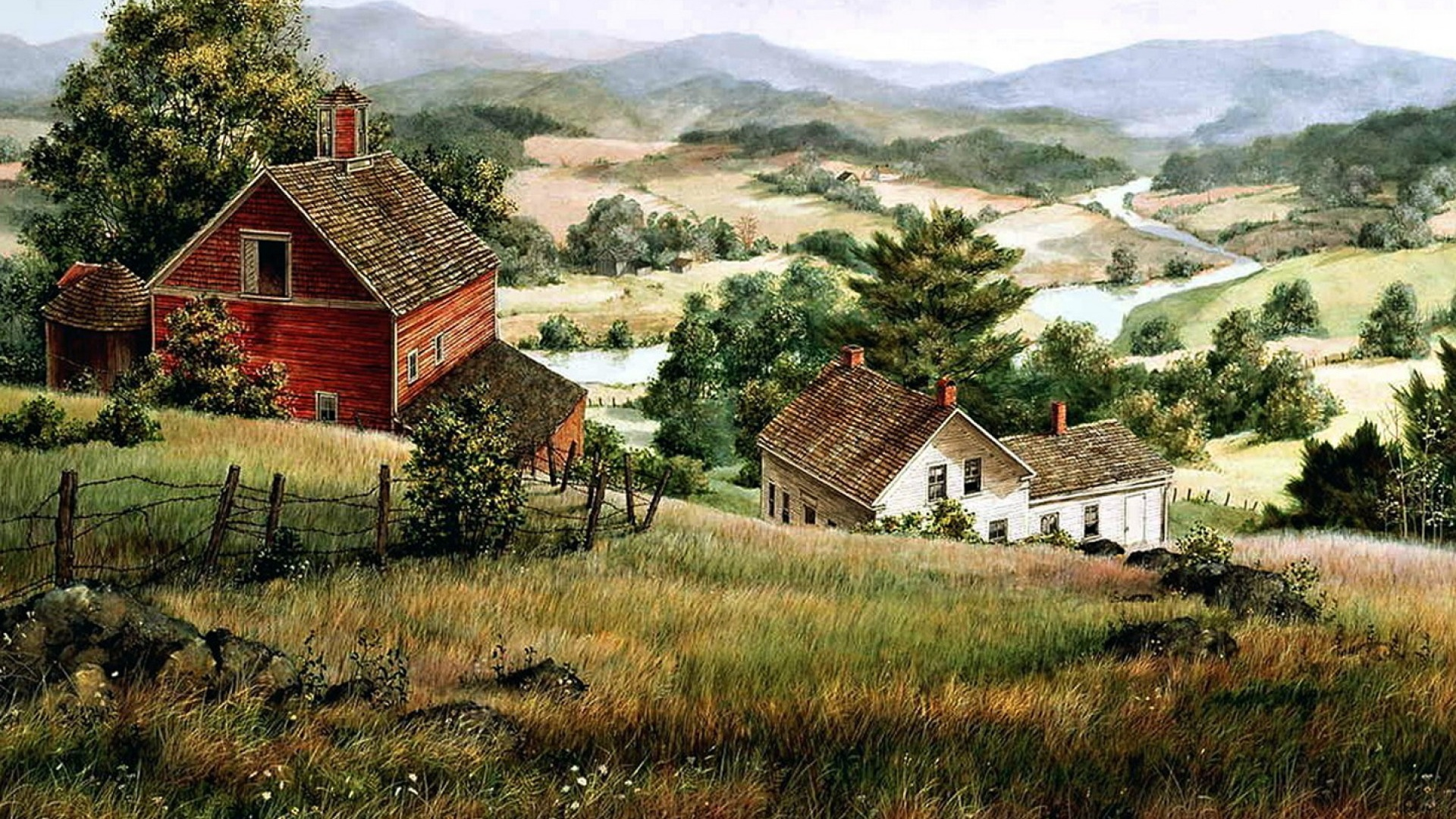 1920x1080 Hills Farm Houses River Valley desktop PC and 1920x1080