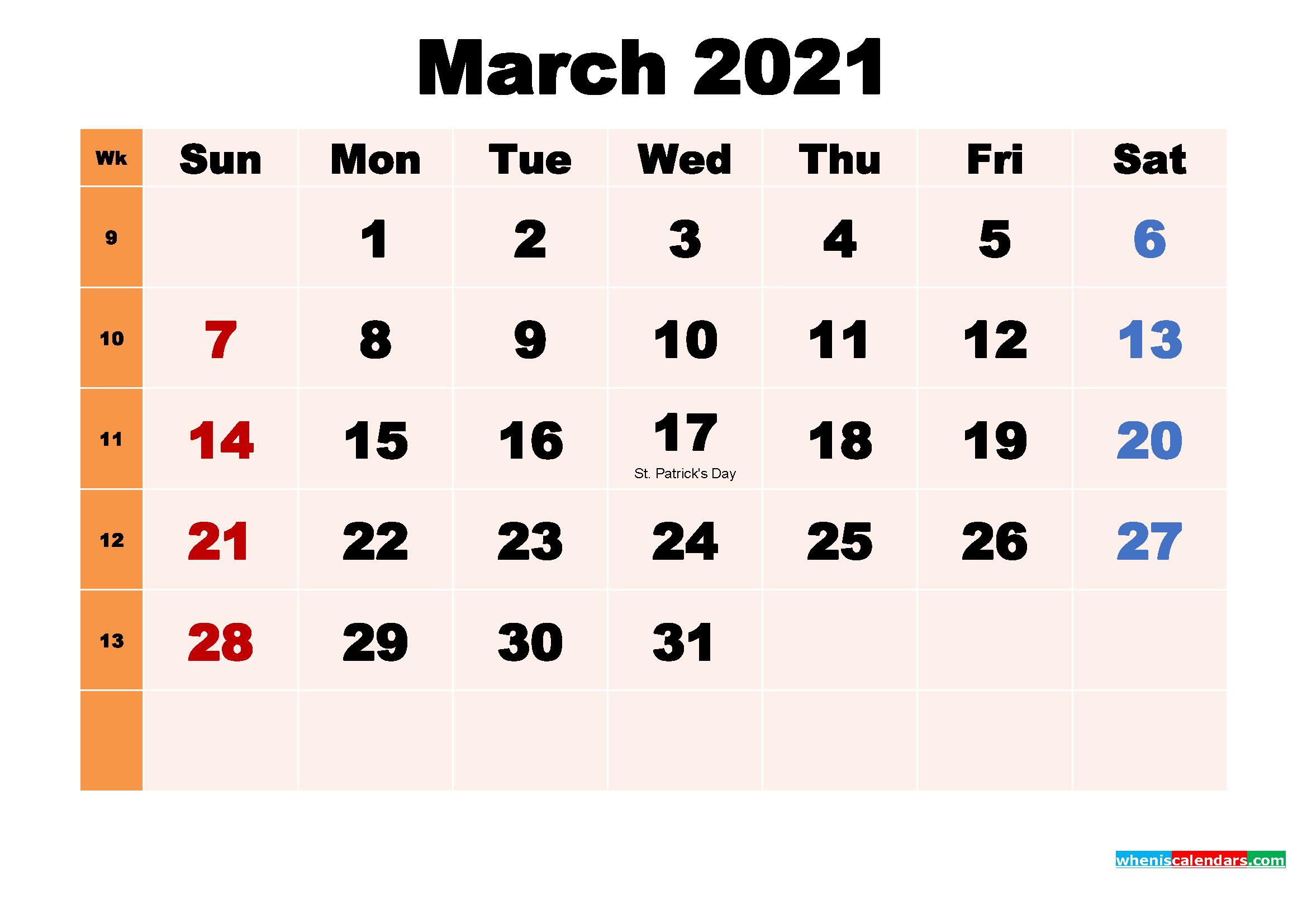 March 2021 Calendar Wallpaper Download