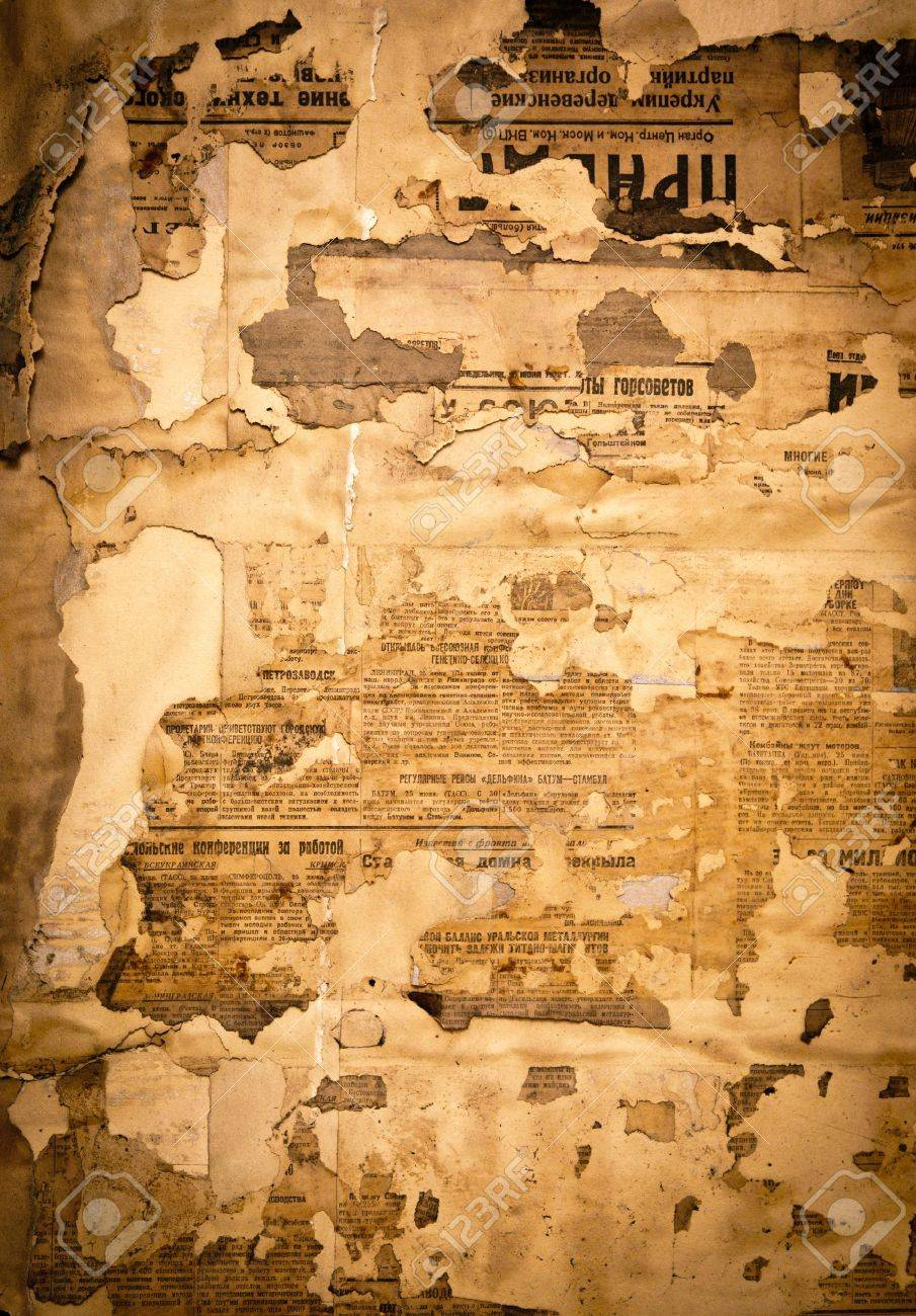 Grungy Background With Old Yellowed Soviet Newspaper Fragments 905x1300