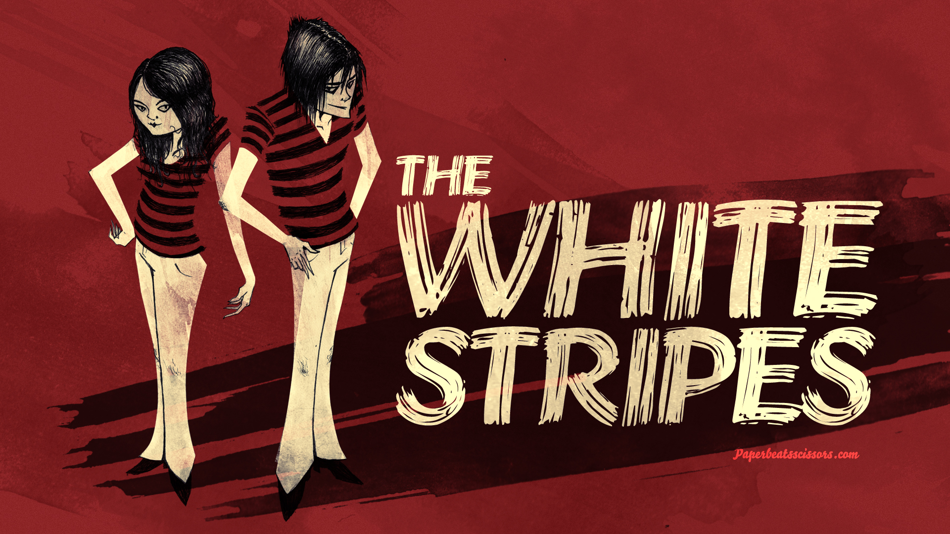 The White Stripes Red Drawing wallpaper background 1920x1080