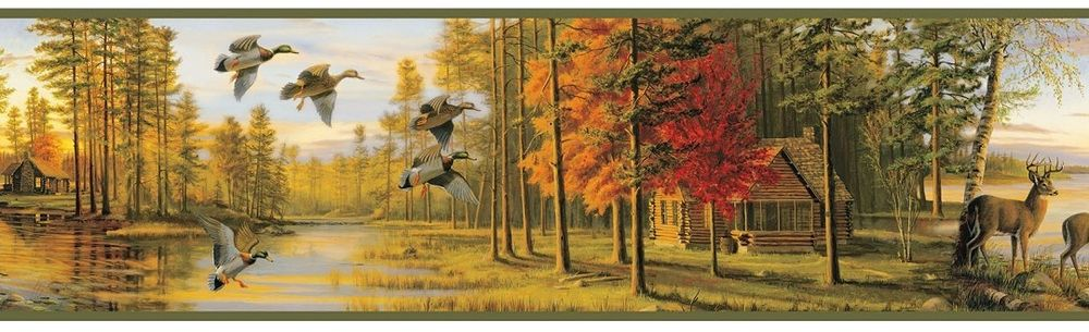 Autumn Evening Wallpaper Border Rustic Log Cabin Water Fowl Deer 1000x305