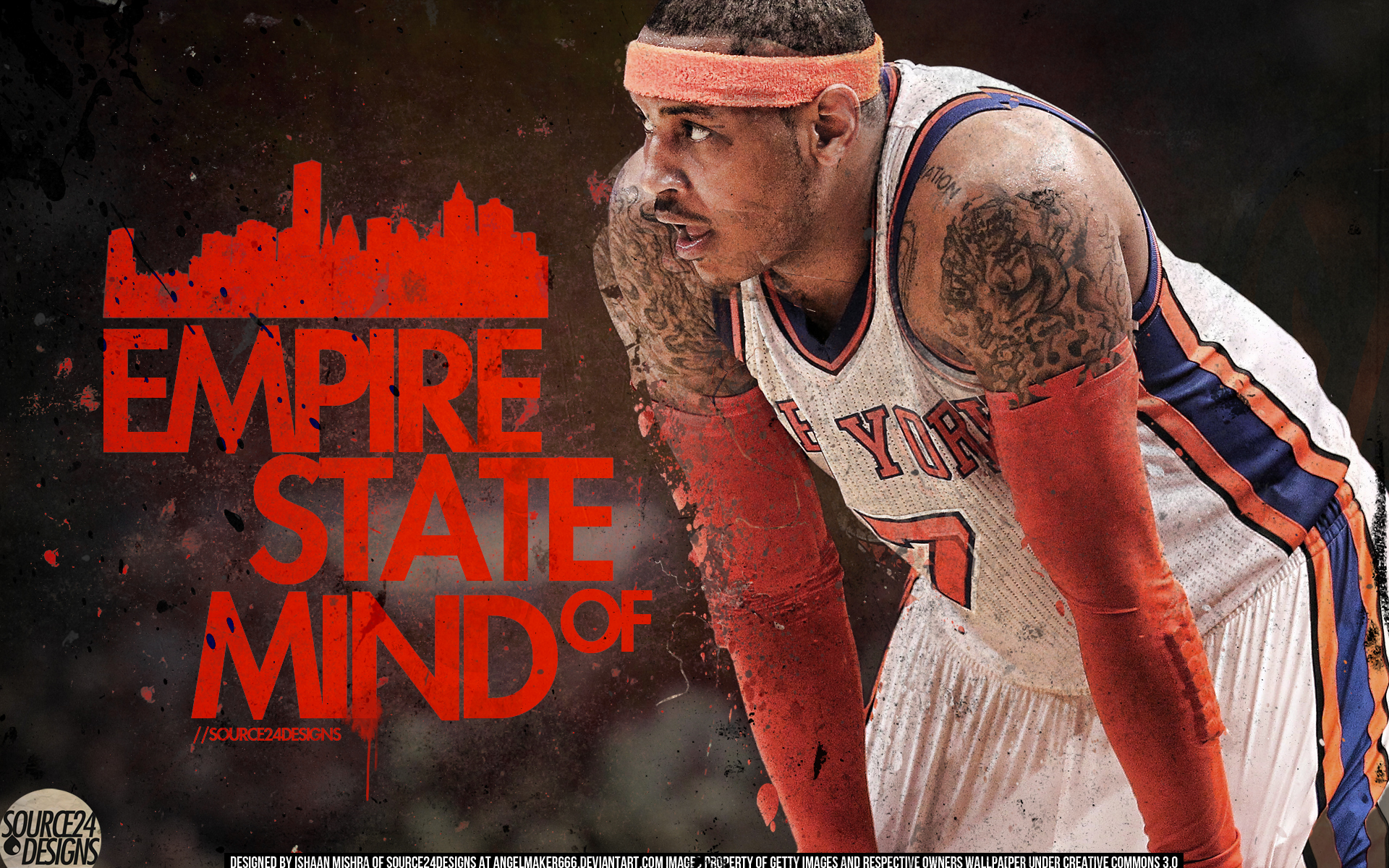 Carmelo Anthony New York Knick by IshaanMishra 1920x1200