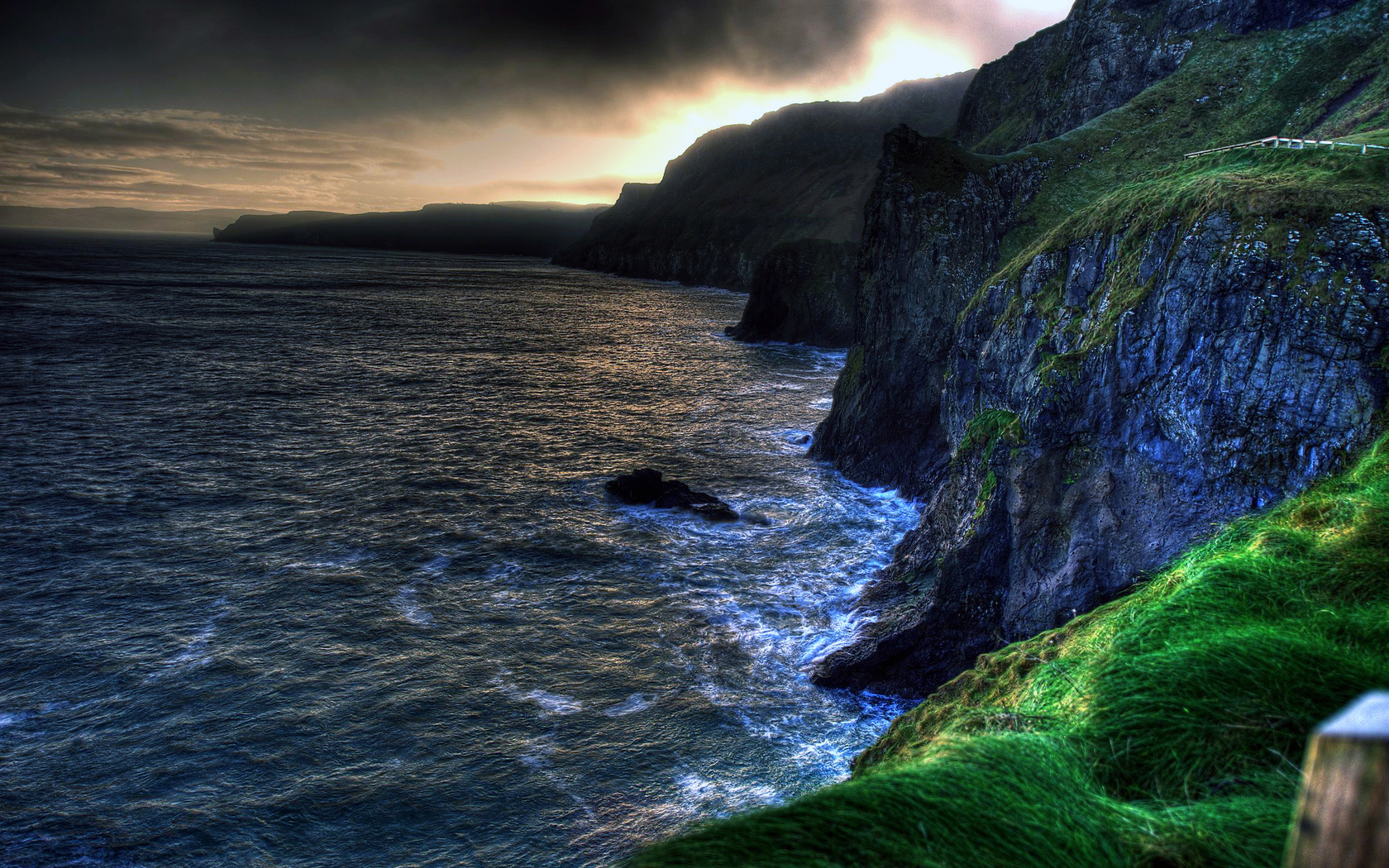 The wallpaper of amazing coastline of Ballintoy in Northern 1680x1050