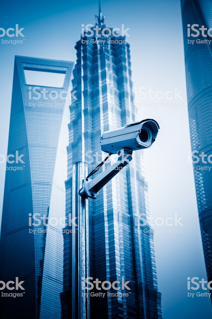 Security Camera With The Skyscrapers Background Stock Photo 683x1024