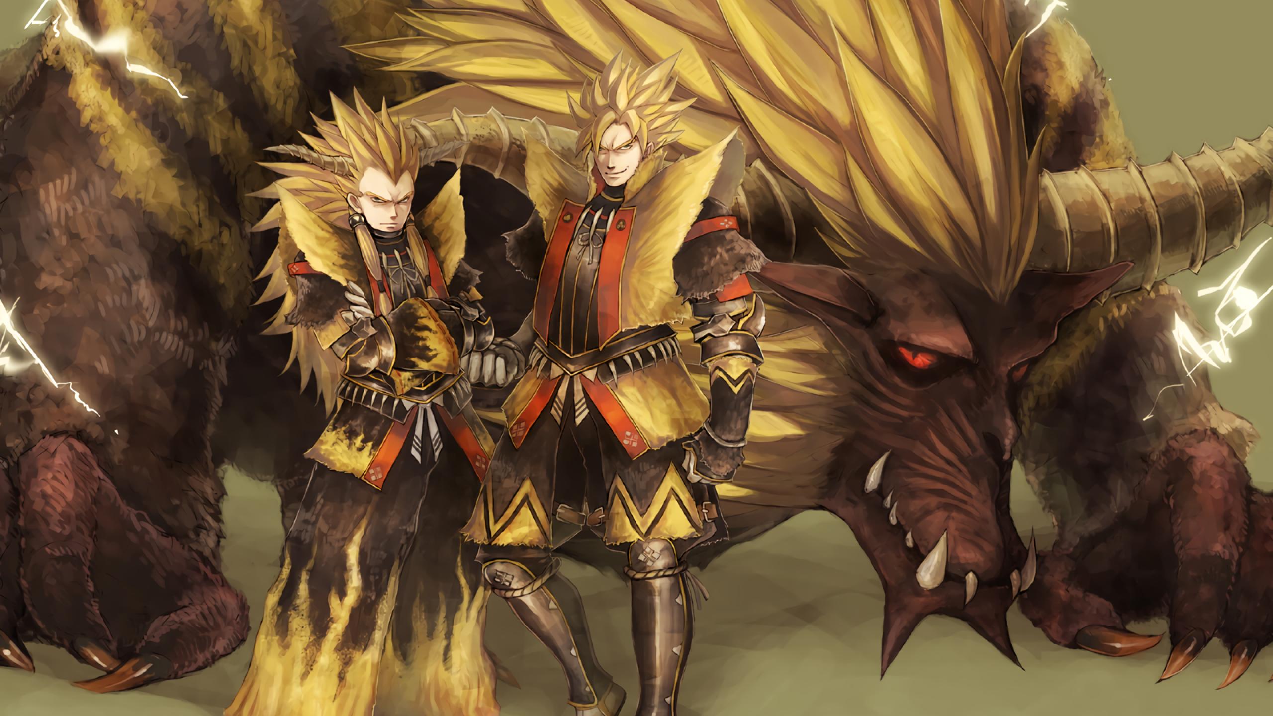 Download 2560x1440 Dragon Ball Z Goku Vegata Monster Hunter 2560x1440