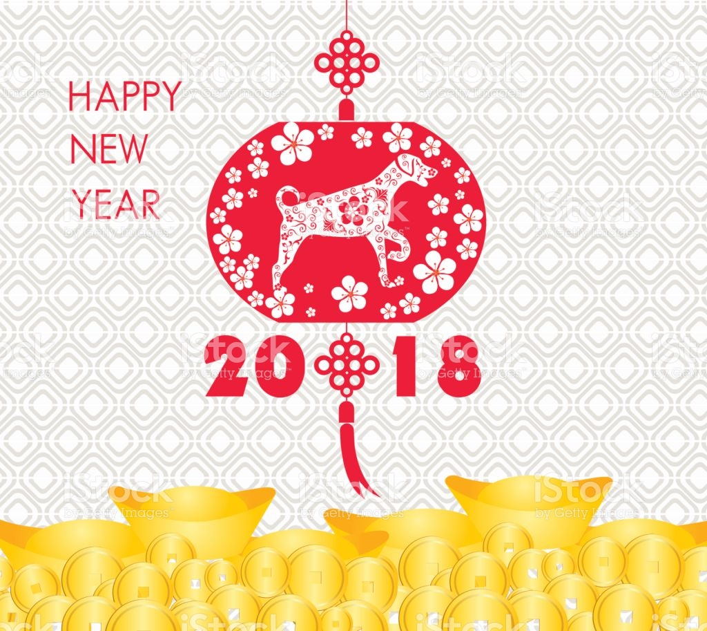 Happy Chinese New Year 2018 Card Is Gold Coins Money Year 1024x913