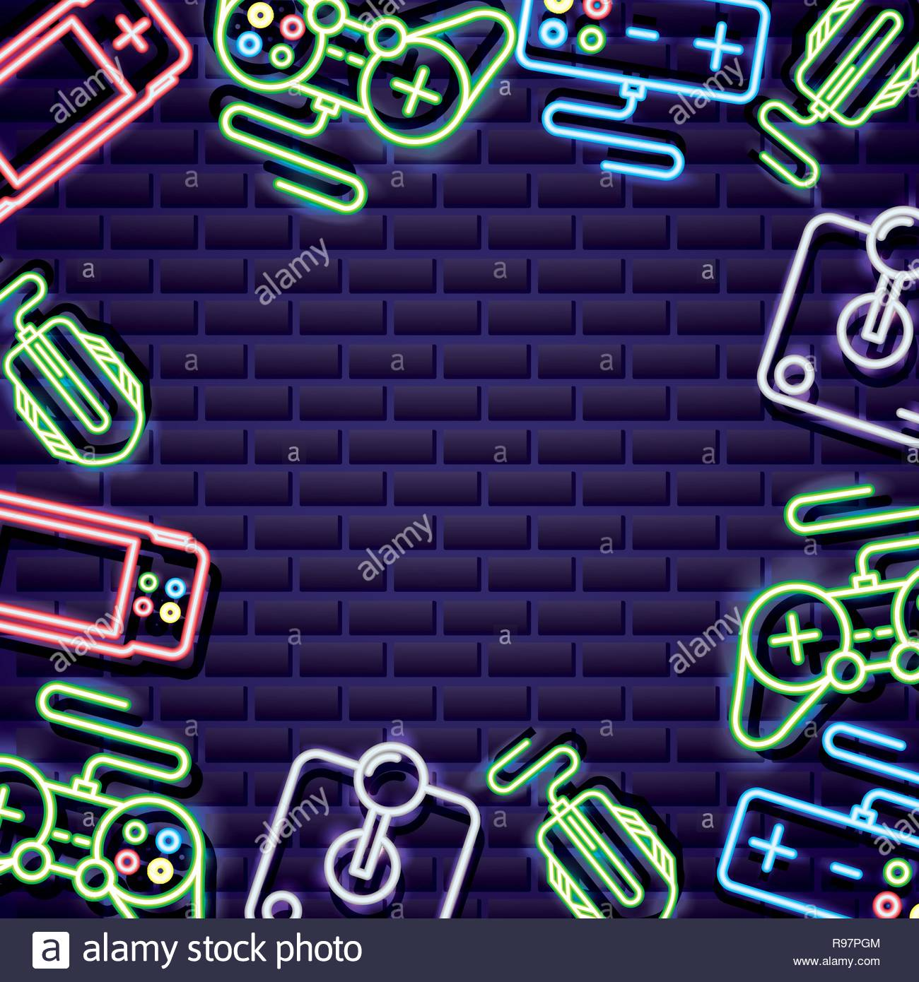 video games controls neon background vector illustration Stock 1300x1390