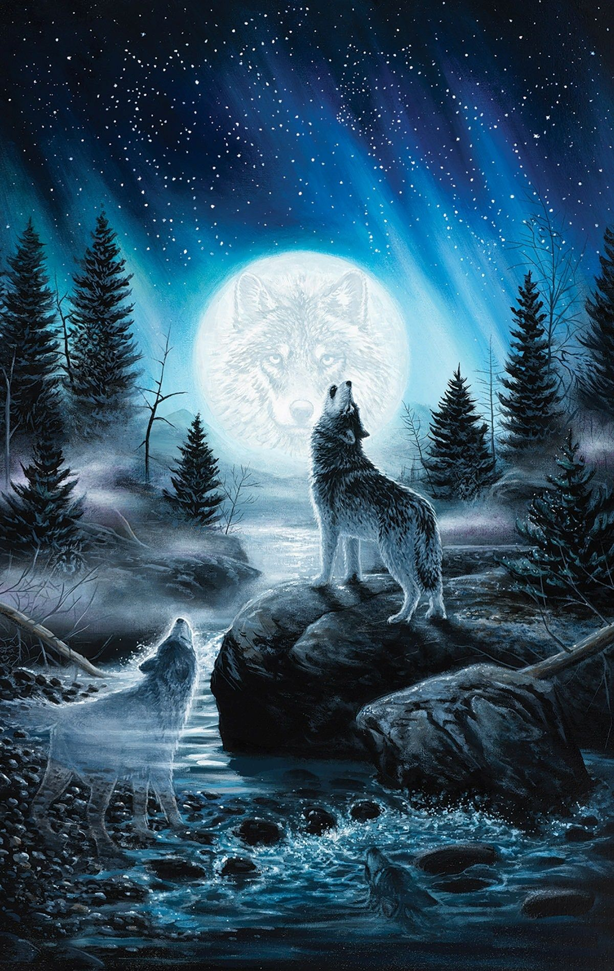 Howling Wolf Wallpaper Iphone   Wolf Howling At The Moon Art 1200x1897
