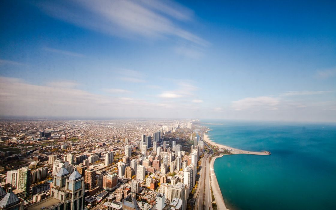 Chicago USA Illinois ocean coastline horizon sky clouds 1120x700