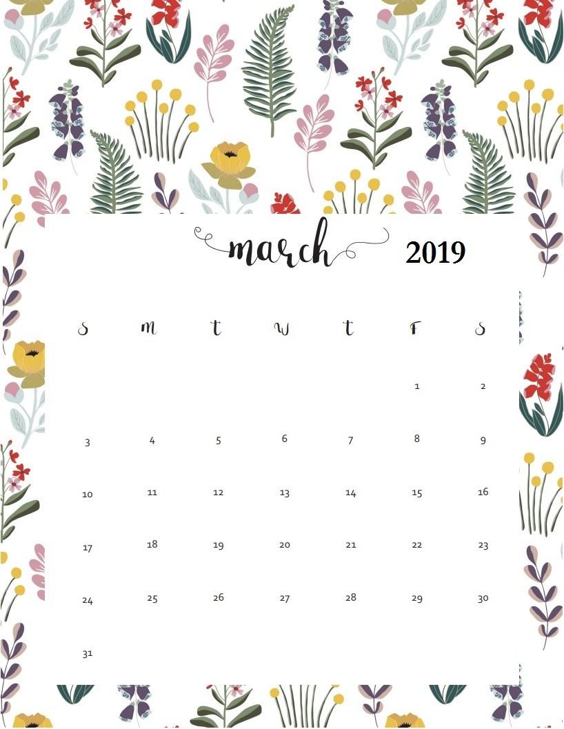 Floral March 2019 Wall Calendar 818x1057