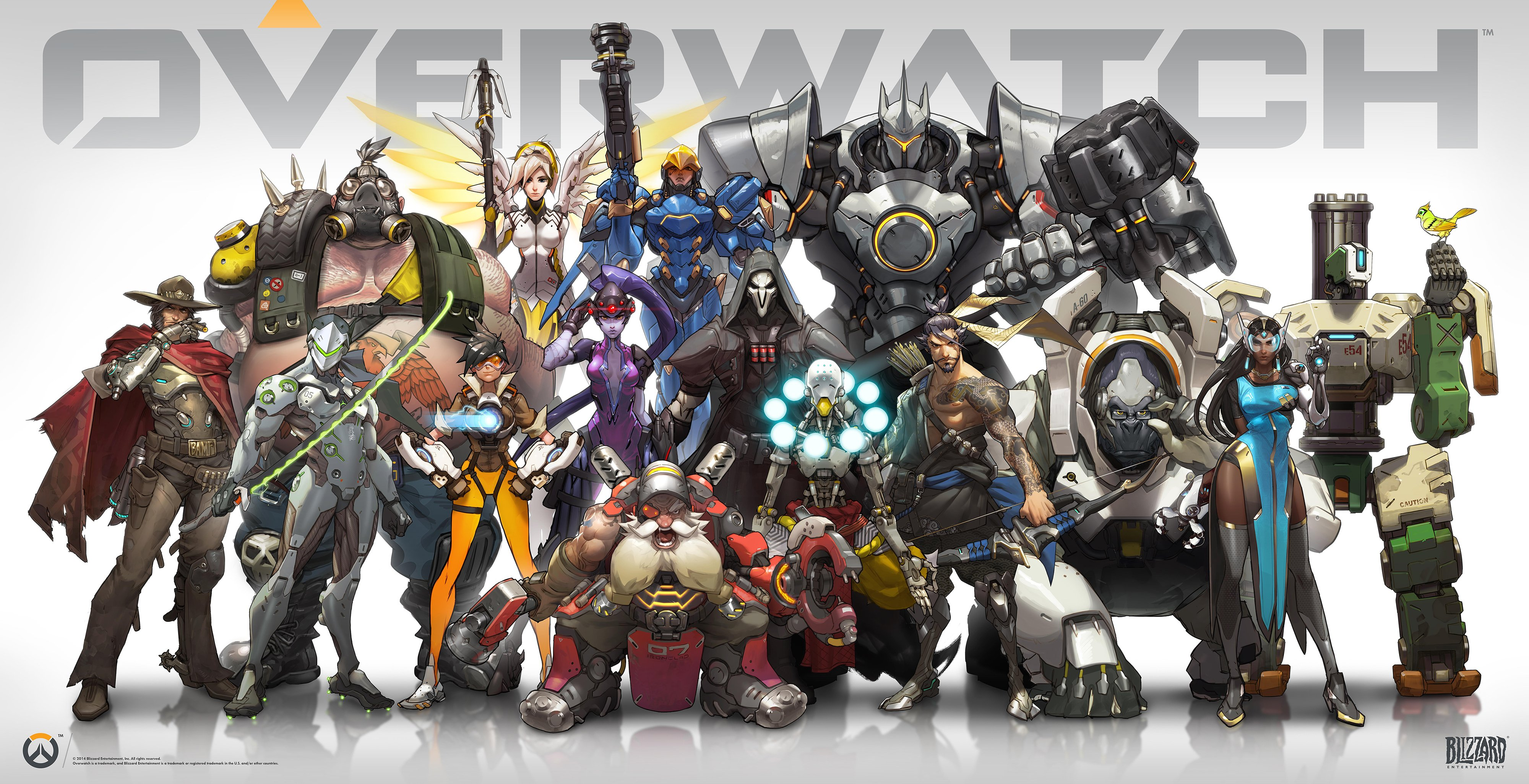 Overwatch soldiers Wallpaper armor weapon bow arrow bird mask 4000x2052