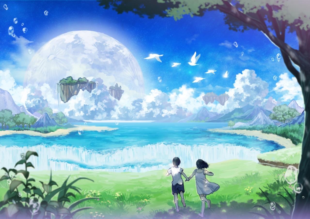 anime nature amemura pixiv backgrounds background desktop wallpapers swell sky grass waterfall zerochan paradise landscape hair natures stars scenic computer